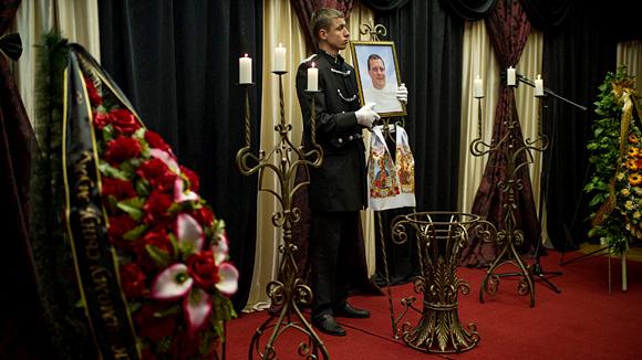 Die Beerdigung eines Mitglieds des Regionalparlaments in Odessa, der bei den Zusammenstößen in der Stadt am 2. Mai ums Leben kam.